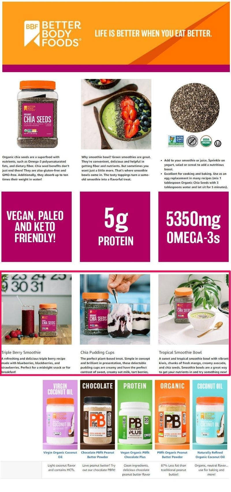 How Better Body Foods uses a+ images