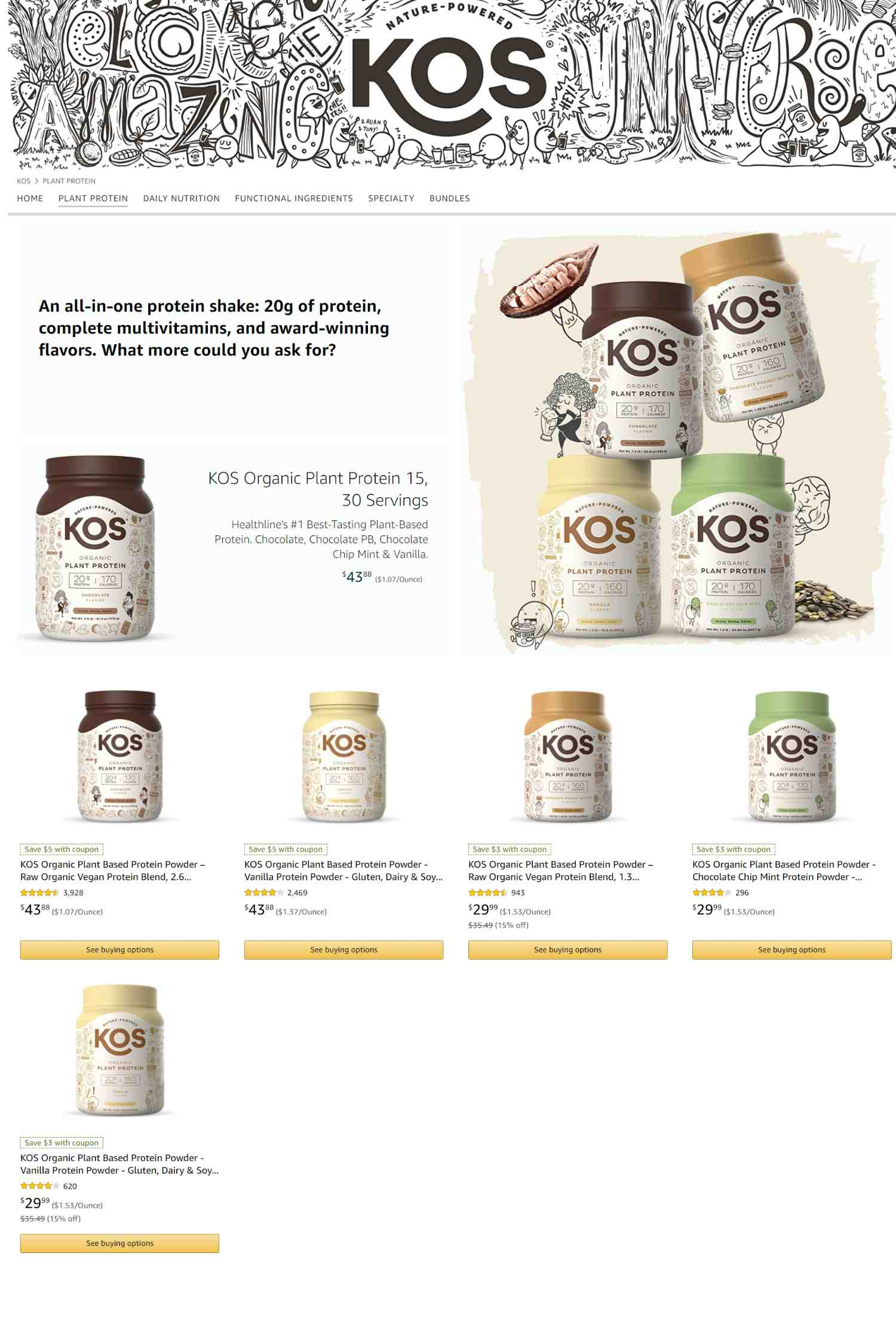 Amazon Storefront Example of Kos's Plant Protein Product Page