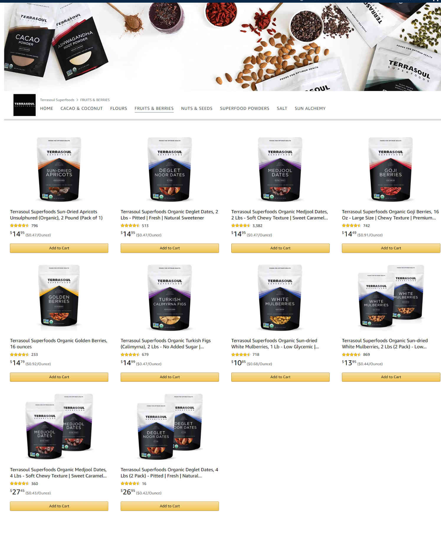 Amazon Storefront Example of TerraSoul's Fruits & Berries Product Page