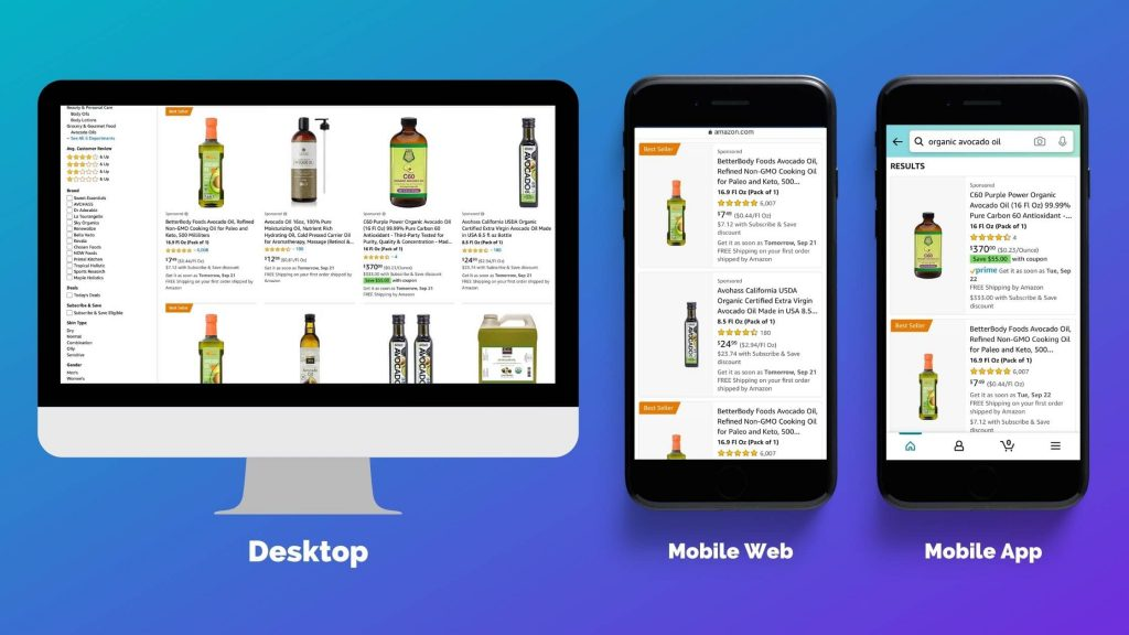 Differences between desktop and mobile search pages