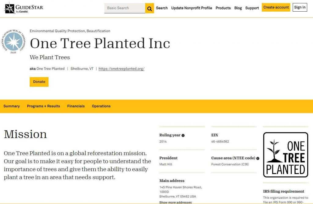 Guidestar Profile of One Tree Planted