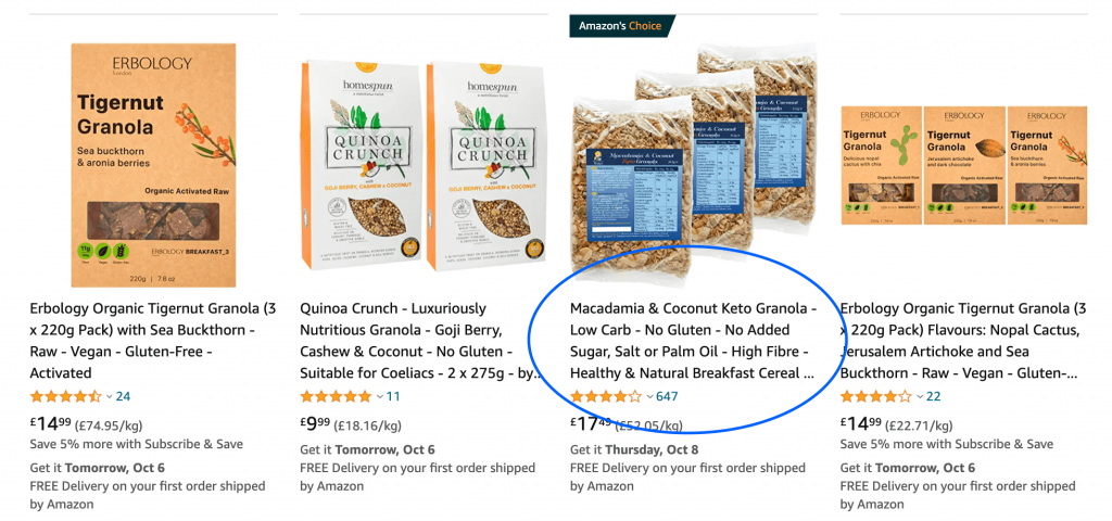 organic granola search