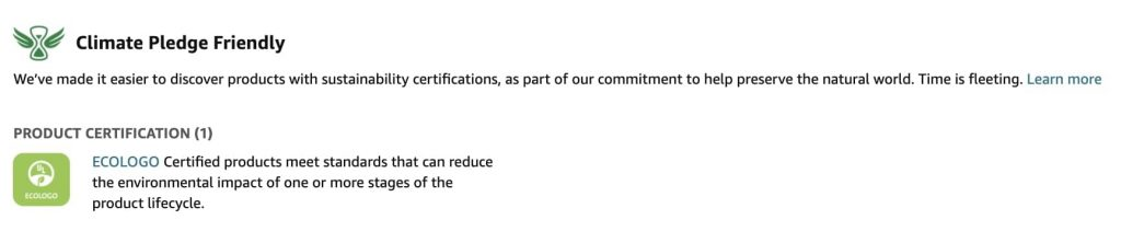 Amazon Climate pledge friendly certification with ECOLOGO