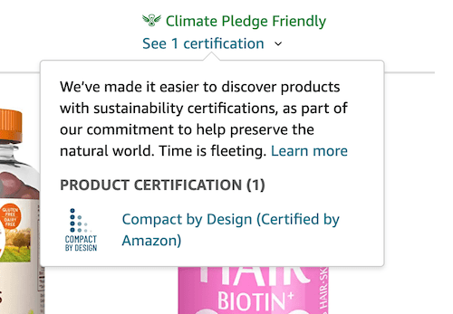 Climate Pledge Friendly Certification Hover Over