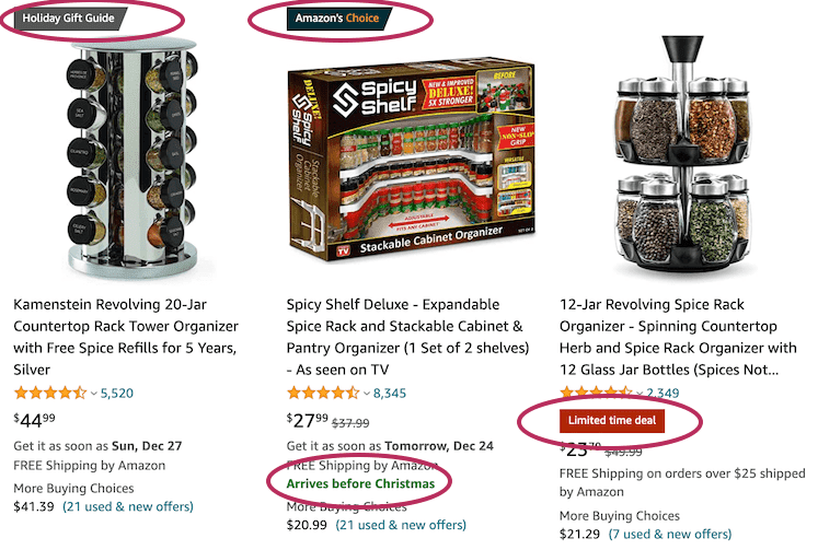 Examples of Amazon Badges on the SERP
