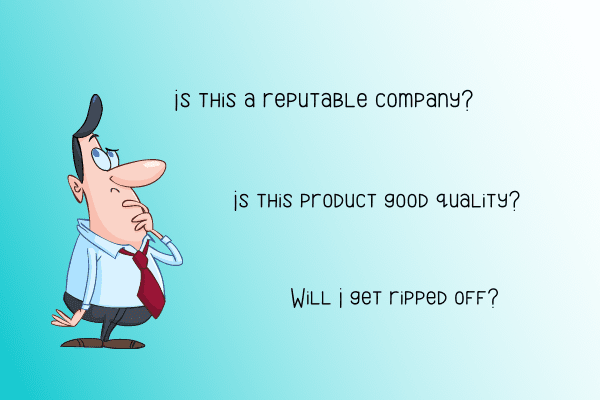 Questions someone might have about whether a product or brand is trustworthy