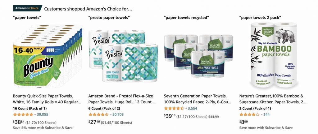 Amazon's Choice for different keyword phrases for paper towels
